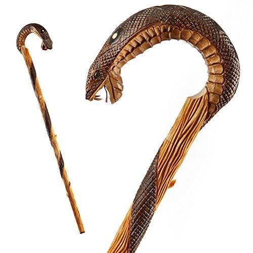 Bastón madera tallado mano mango curvado diseño