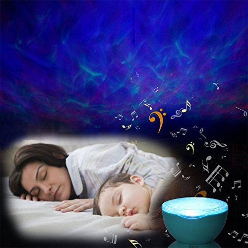 Image of Ocean Wave Night Light HmiL-U Remote Control Relaxing Projector with Music Player 7 Colorful Light Timing Close Function for Kids Adults Bedroom Nursery Birthday/Christmas Gift【With 3 Pin Plug+Extra 2M Audio Line】(White)