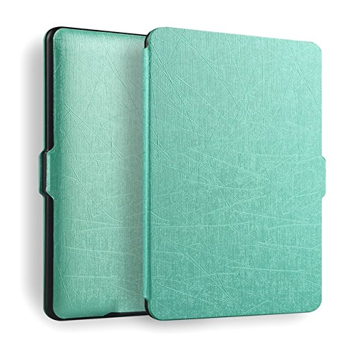Premium (Oracle Leather) SmartShell Lightest Thinnest Protective Case with (Auto Wake/Sleep) Folio Flip Cover Case for Amazon Kindle Paperwhite 1 2 3 2012 , 2013 , 2014 , 2015 & 2016 New 300 PPI Versions with 6' Display Flip Cover Flip Case (Turquoise)
