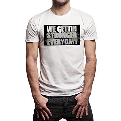 Snatch Movie Brad Pitt We Gettin Stronger Everyday Background Herren T-Shirt Weiß