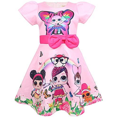Kostüm Mädchen Puppe - QYS Mädchen überraschen Prinzessin Kostüm Puppe Digital Print Party Kleid Kleid für Puppe überrascht,110cm