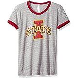 Blue 84 NCAA Iowa State Cyclones Women's Tri-Blend Retro Stripe Ringer Shirt, Medium, Cardinal