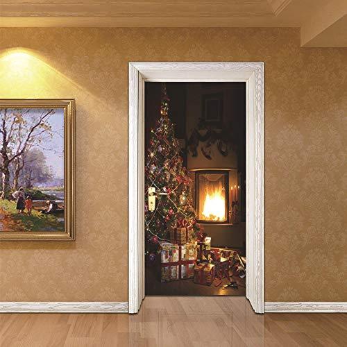 AXMTZH 3D Tür Aufkleber Tür Tapete Foto Tür Poster Diy Wandbild - Weihnachtsbaum Beleuchtet Das Warme Kreative Licht80X210Cm Selbstklebende Pvc Abnehmbare Wasserdichte Tür Aufkleber Wohnzimmer Sc