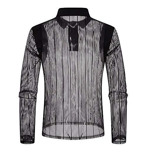 MRULIC Herren Herbst Casual Tops Langarm Shirt Polo Shirt Bluse Clubwear RH-027(Schwarz,EU-50/CN-2XL)