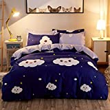 Duvet Cover Sets 4 Piece Bedding Set Bedclothes Cover Bed Sheet 2 Pillowcases Single Twin Queen King (Navy Blue, 150x200cm)