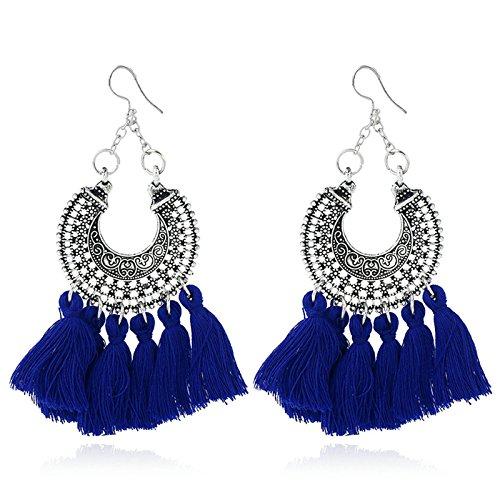 6dee77cad18e AMDXD Joyería Pendientes Chapados en Oro para Mujer Geometría Corazón Borla  Azul Chicas Aretes