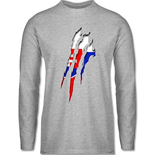 Länder - Slowakei Krallenspuren - Longsleeve / langärmeliges T-Shirt für Herren Grau Meliert