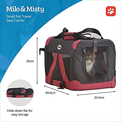 MILO & MISTY Fabric Pet Carrier - Lightweight Folding Travel Seat for Dogs, Cats, Puppies - Made of Waterproof Nylon and… 3