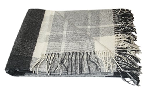 Kaschmir Merino Wolldecke - 100% reine Wolle 140 x 200cm Plaid Blanket Sofadecke Decke (Weiß /...