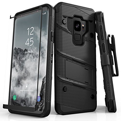 beea8f2a38d Zizo Bolt Series Samsung Galaxy S9 Case - Full Curved Glass Screen Protector  with Holster and