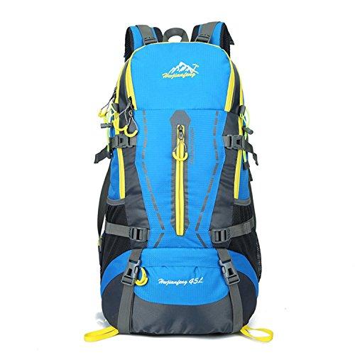 HWJF Großer Kapazitäts-45L Beutel-Spielraum-Schulter-Beutel-Sport-Spielraum-Bergsteigen-kampierender Rucksack für Männer und Frauen Blue