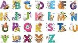 Kath (Homonymie) et Cath ABC Lettres de l'alphabet Animaux Nature Aquarelle Salle de Chambre d'enfant Vinyle Amovible Autocollant Multicolore Toile Murale Art Décoration de la Maison...