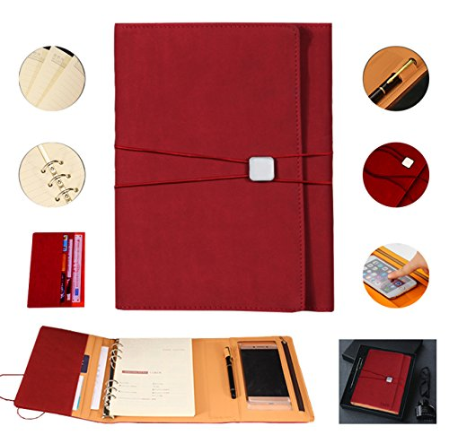 Portfolio Binder Organizer, ZARR 6-in-1 Deluxe PU Leather Business Padfolio-Document Organizer+Card Holder+Refillable A5 Writing Notepad+Pen&Holder+Zippered Phone Case with Clear Protector+Gift Box (Claret)