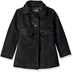 The Childrens Place Girls Little Girls Dressy Coat, Black, X-Small/4