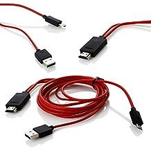 Micro USB a HDMI,Lenuo 2M MHL 11pin 1080P HDTV cable adaptador para Samsung Galaxy serie del teléfono móvil, color rojo