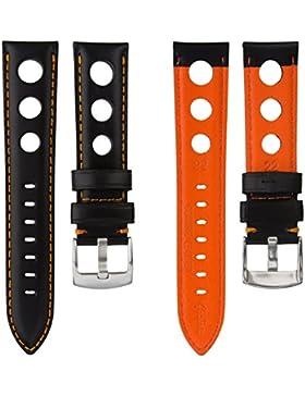 Echtes Italienisches Leder Schwarz Rallye Uhrenarmband mit Orangener Naht 20mm