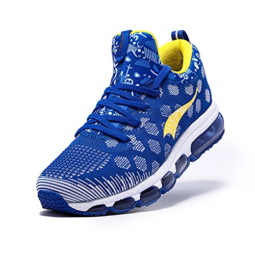 Onemix Air Baskets Chaussures Jogging Course Gym Fitness Sport Lacet Sneakers Style Running Multicolore Respirante Homme bleu Jaune