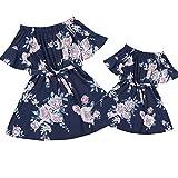 Mutter Tochter Passende Minikleider Lässige One Piece Kurzarm Bund Blumenmuster Kimono Frauen Kleider Mädchen (Damen S, schwa