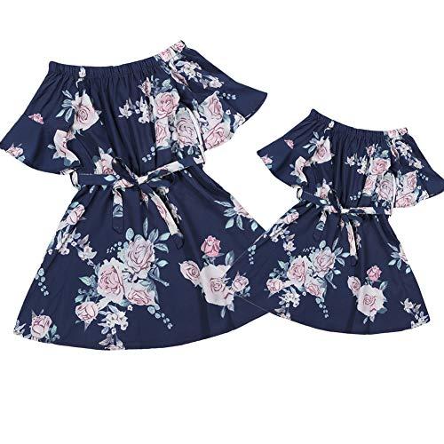 Mutter Tochter Passende Minikleider Lässige One Piece Kurzarm Bund Blumenmuster Kimono Frauen Kleider Mädchen (Damen M, schwarz-Damen) -