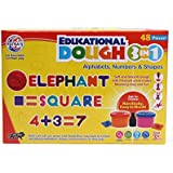 Toyztrend Art & Craft Educational Dough 3 in 1 having Alphabets, Numbers & Shapes Moulds (48 Pieces) along with mathematical symbols