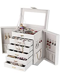 White Jewellery Box Jewellery Armoire Necklace Ring Bracelet Storage Holder Vintage Case Gift 30*20.4*32.8 CM (LxWxH) (White)