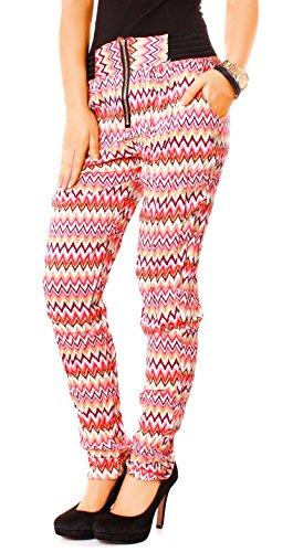 Easy Young Fashion Damen Sommer Hose Gummibund Zip Gemustert zickzack corall