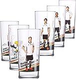 Offizielles DFB 0,3l Trink-Glas (6 Stück) der 12er Gläser Fan Set Sammlung EM WM Fussball Weltmeister Deutschland Fußball Nationalspieler mit Unterschrift (6er Motiv-Set 1)