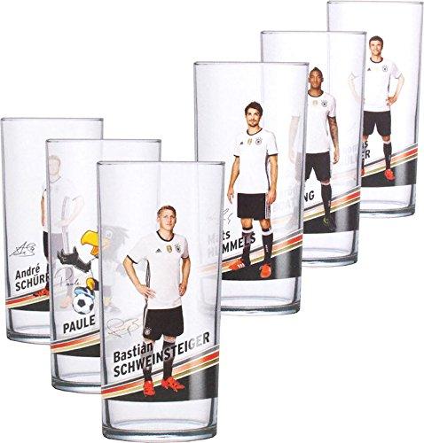 Offizielles DFB 0,3l Trink-Glas (6 Stück) der 12er Gläser Fan Set Sammlung EM WM Fussball Weltmeister Deutschland Fußball Nationalspieler mit Unterschrift (6er Motiv-Set 1) - Marco Gläser