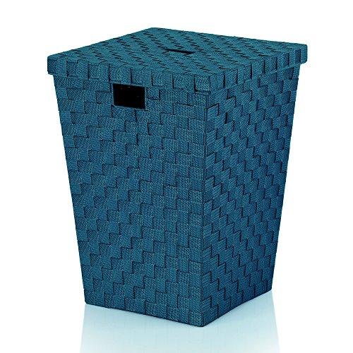 Kela 23088 Wäschebox, Geflochtenes Faserband, 40 x 40 x 52 cm, Alvaro, Petrol