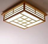 LYXG Lámparas japonesas dormitorio principal con techos de madera tatami luz luz luz LED cuadrado...