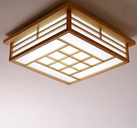 LYXG Lampes chambre des maîtres japonais tatami lumière plafond de bois en place lumière LED light (450*450mm), les billes de lumière blanche d'étude