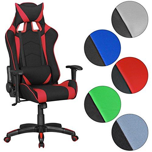 AMSTYLE® SCORE - Gaming Sedia con rivestimento in tessuto di colore nero / rosso | (Sedia Da Ufficio Poggiatesta)