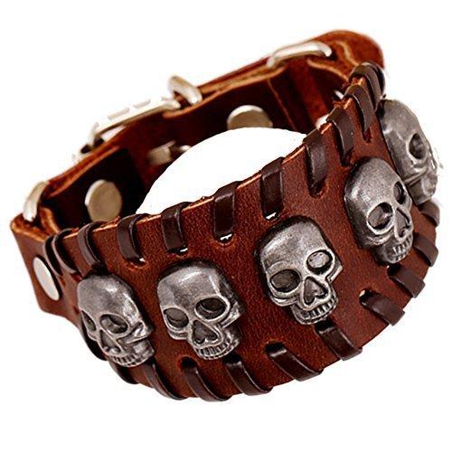 Punk-rock-tasten (Cool Lederarmband Schädel Kopf Handarbeit Armreif Leder Manschetten Armband Punk Rock Biker breites Armband mit Snap Taste)