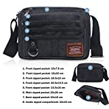 JAKAGO Small Waterproof Casual Canvas Shoulder Bag Messenger Bag Crossbody Bag Mens Satchel Iphone Ipad Mini Bag with Multi Pockets for Holiday Work Flight Trip Sports dog walking, 25x20CM (Black)
