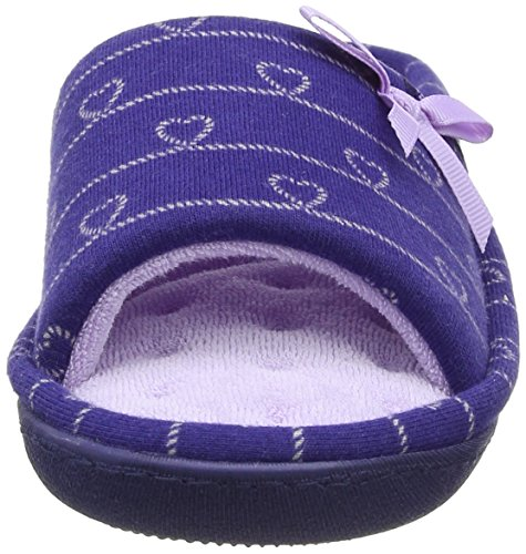 Isotoner - Isotoner Heart Patten Open Toe Slipper, Pantofole Donna Blue (Navy/Lilac)