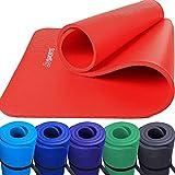 Scsports Gymnastik-/ Yoga-Matte, dick und rutschfest, mit Schultergurt, 190 cm x 80 cm x 1,5 cm, universeller Einsatz im Fitnessstudio oder zu Hause, rot