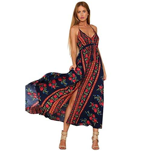 Damen Kleider,LMMVP Frauen reizvolles Halter Backless V-Ansatz Blumen gedrucktes Maxi Kleid (S, Red) (Kleid Chiffon Wrap Halfter)