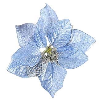 CAOLATOR.Flor de Navidad Decorativas árbol de navidad de Colgante Manualidades Boda Pascua Fiesta Bricolaje Decoración Coche Oficina en Casa-Azul