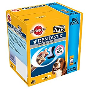 PEDIGREE Dentastix quotidien hygiène buccale DENTAIRE À MÂCHER, grand chien 56 bâtonnets, pack de 1