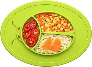 Baby Teller, Mini Silikon Tischset Kinder Rutschfest Abwaschbar Baby Tischset mit Saugnapf Babyteller für die Meisten Esstische und Hochstuhl-Tabletts