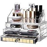 Kosmetische Aufbewahrungsbox Transparente Schubladenkombination Aufbewahrungsschrank aus Acryl-Kosmetikkoffer Exklusive 3-Schicht-Kombination für Damen