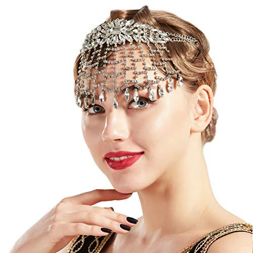 Coucoland 1920s Stirnband Damen Perlen Haar Kette Gatsby Kostüm Fasching Accessoires 20er Jahre Flapper Blinkendes Haarband (Strass)