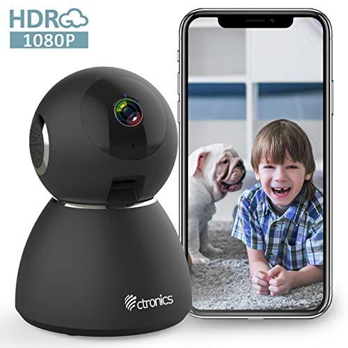 Ctronics 1080P HD WLAN Überwachungskamera Dome IP Kamera Indoor Zwei Wege Audio 355° Winkel Heimüberwachung Haustieren Baby-Überwachung Bewegungserkennung Geräuscherkennung Nachtsicht