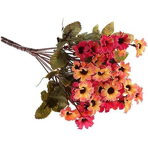 2 Manojo Adorno Hogar Plantas Flores Margarita Artificiales para Fiesta Boda Casa - Rosa Roja