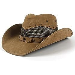 W.Z.H.H.H Sombrero de Moda Sombrero de Vaquero de Cuero para Hombre, Verano, con Sombreros de Malla, Padrino y papá 58-59 CM Casquillo al Aire Libre (Color : Khkai, tamaño : 58-59cm)