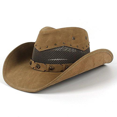 Godfather Hat - YOZOOE Western Cowboy Cap-58-59CM Herren Leder