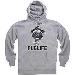 Goodie Two Sleeves Pug Life Sudadera con capucha, Para hombre, Gris jaspeado, XL