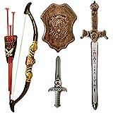 Halo Nation Bahubali Weapon Set - Knights Fancy Dress Kids Cosplay - Kings Sword ith Shield, Bow & 3 Arrows & a Dagger