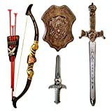 Halo Nation Bahubali Weapon Set - Knights Fancy Dress Kids Cosplay - Kings Sword ith Shield, Bow & 3 Arrows & a Dagger