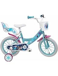 """Disney La Reine des Neiges Vélo Mixte Enfant, Blanc/Bleu, 14"""""""